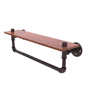 Pipeline Antique Bronze 22-Inch Ironwood Shelf with Towel Bar