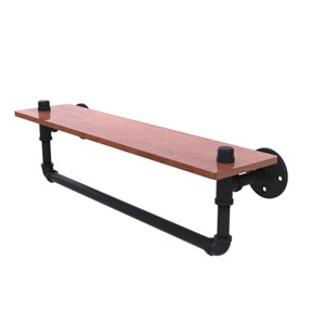 Pipeline Matte Black 22-Inch Ironwood Shelf with Towel Bar
