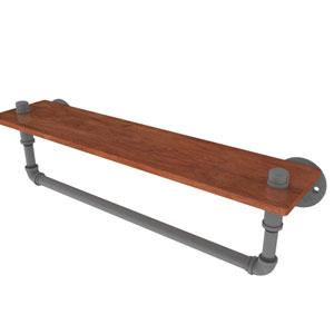 Pipeline Matte Gray 22-Inch Ironwood Shelf with Towel Bar