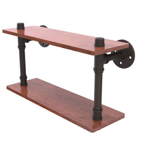 Pipeline Oil Rubbed Bronze 16-Inch Ironwood Double Shelf