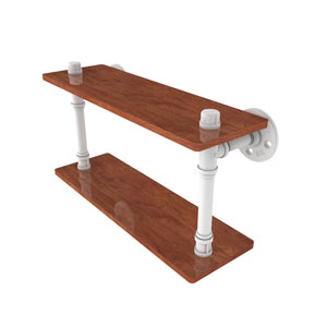 Pipeline Matte White 16-Inch Ironwood Double Shelf