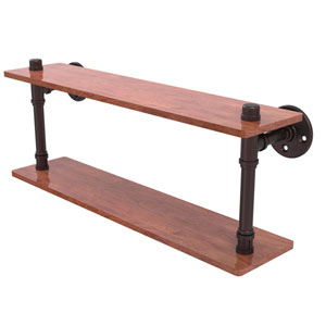 Pipeline Antique Bronze 22-Inch Ironwood Double Shelf