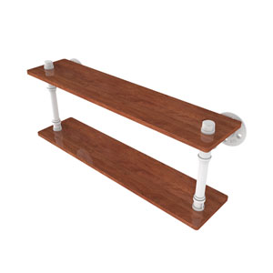 Pipeline Matte White 22-Inch Ironwood Double Shelf