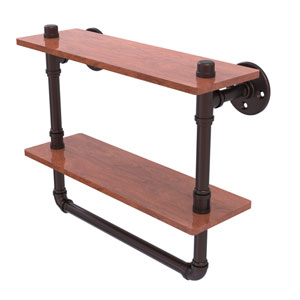 Pipeline Antique Bronze 16-Inch Double Ironwood Shelf with Towel Bar