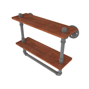 Pipeline Matte Gray 16-Inch Double Ironwood Shelf with Towel Bar