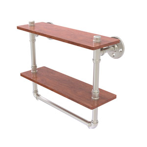 Pipeline Satin Nickel 16-Inch Double Ironwood Shelf with Towel Bar