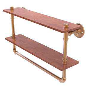 Pipeline Brushed Bronze 22-Inch Double Ironwood Shelf with Towel Bar
