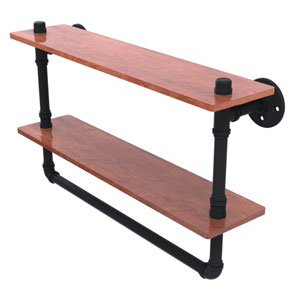 Pipeline Matte Black 22-Inch Double Ironwood Shelf with Towel Bar