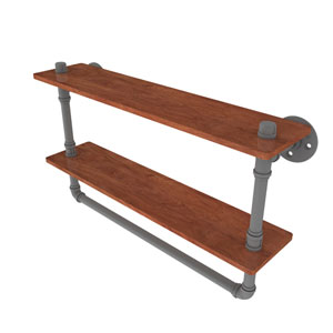 Pipeline Matte Gray 22-Inch Double Ironwood Shelf with Towel Bar
