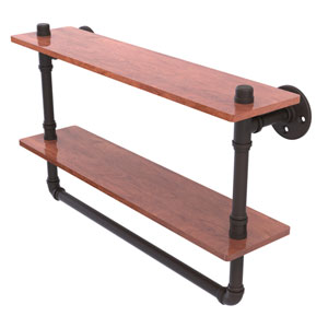 Pipeline Oil Rubbed Bronze 22-Inch Double Ironwood Shelf with Towel Bar
