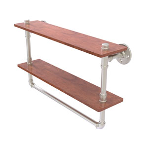 Pipeline Satin Nickel 22-Inch Double Ironwood Shelf with Towel Bar