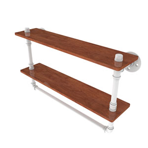 Pipeline Matte White 22-Inch Double Ironwood Shelf with Towel Bar