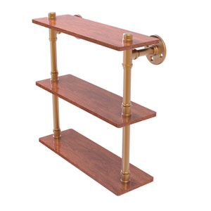 Pipeline Brushed Bronze 16-Inch Ironwood Triple Shelf