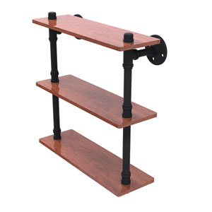 Pipeline Matte Black 16-Inch Ironwood Triple Shelf