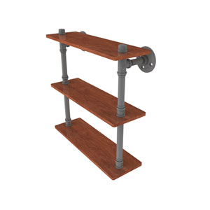 Pipeline Matte Gray 16-Inch Ironwood Triple Shelf