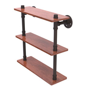 Pipeline Oil Rubbed Bronze 16-Inch Ironwood Triple Shelf