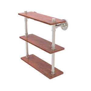 Pipeline Satin Nickel 16-Inch Ironwood Triple Shelf