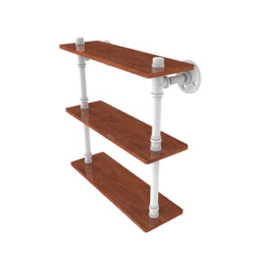 Pipeline Matte White 16-Inch Ironwood Triple Shelf