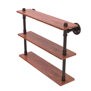 Pipeline Antique Bronze 22-Inch Ironwood Triple Shelf