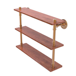 Pipeline Brushed Bronze 22-Inch Ironwood Triple Shelf