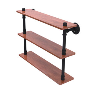 Pipeline Matte Black 22-Inch Ironwood Triple Shelf