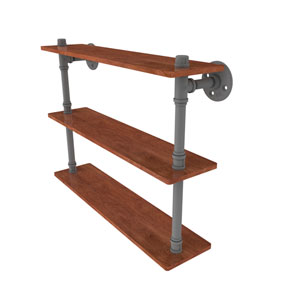 Pipeline Matte Gray 22-Inch Ironwood Triple Shelf