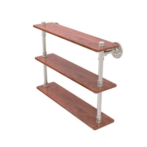 Pipeline Satin Nickel 22-Inch Ironwood Triple Shelf