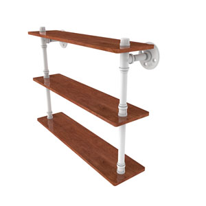 Pipeline Matte White 22-Inch Ironwood Triple Shelf