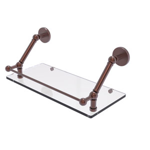 Prestige Skyline Antique Copper 18-Inch Floating Glass Shelf with Gallery Rail