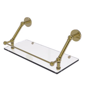 Prestige Skyline Unlacquered Brass 18-Inch Floating Glass Shelf with Gallery Rail