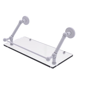 Prestige Skyline Matte White 18-Inch Floating Glass Shelf with Gallery Rail
