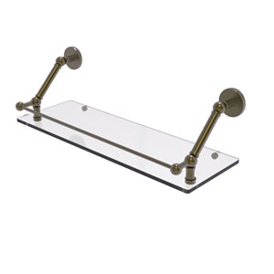 Prestige Skyline Antique Brass 24-Inch Floating Glass Shelf with Gallery Rail
