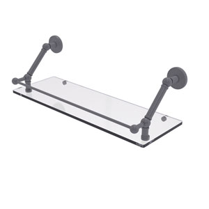 Prestige Skyline Matte Gray 24-Inch Floating Glass Shelf with Gallery Rail