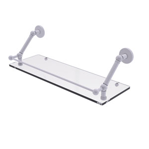 Prestige Skyline Matte White 24-Inch Floating Glass Shelf with Gallery Rail