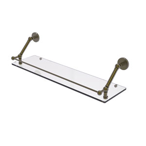 Prestige Skyline Antique Brass 30-Inch Floating Glass Shelf with Gallery Rail