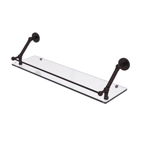 Prestige Skyline Antique Bronze 30-Inch Floating Glass Shelf with Gallery Rail