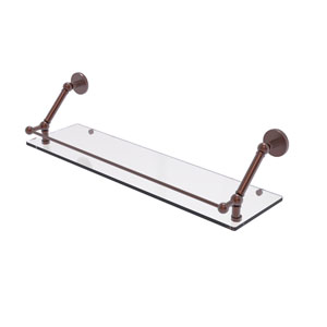 Prestige Skyline Brushed Bronze 30-Inch Floating Glass Shelf with Gallery Rail