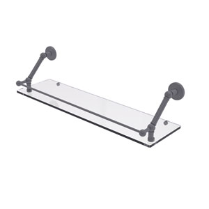 Prestige Skyline Matte Gray 30-Inch Floating Glass Shelf with Gallery Rail
