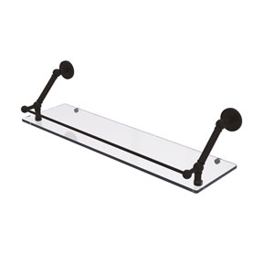 Prestige Skyline Oil Rubbed Bronze 30-Inch Floating Glass Shelf with Gallery Rail