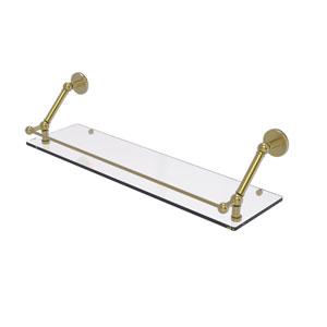 Prestige Skyline Satin Brass 30-Inch Floating Glass Shelf with Gallery Rail
