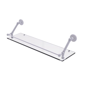 Prestige Skyline Matte White 30-Inch Floating Glass Shelf with Gallery Rail