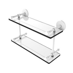 Prestige Skyline Matte White 16-Inch Tempered Double Glass Shelf with Gallery Rail