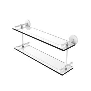 Prestige Skyline Matte White 22-Inch Tempered Double Glass Shelf with Gallery Rail