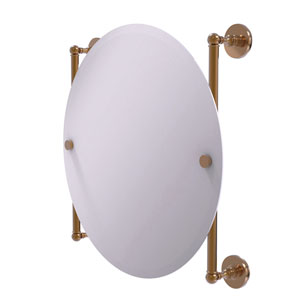 Prestige Skyline Brushed Bronze 22-Inch Round Frameless Rail Mounted Mirror