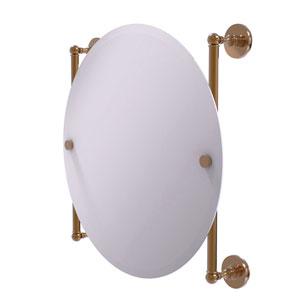 Prestige Skyline Brushed Bronze 22-Inch Round Frameless Rail Mounted Mirror