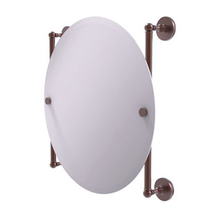 Prestige Skyline Antique Copper 22-Inch Round Frameless Rail Mounted Mirror
