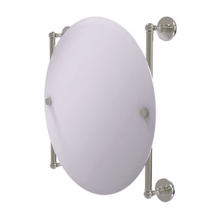Prestige Skyline Satin Nickel 22-Inch Round Frameless Rail Mounted Mirror