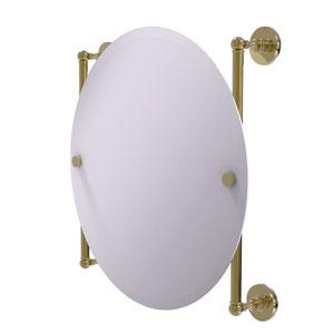 Prestige Skyline Unlacquered Brass 22-Inch Round Frameless Rail Mounted Mirror