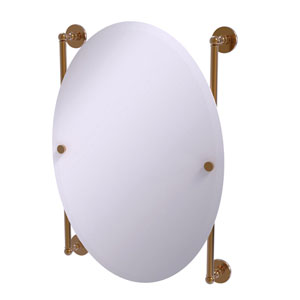 Prestige Skyline Brushed Bronze 21-Inch Oval Frameless Rail Mounted Mirror