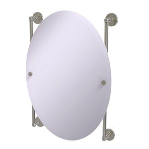 Prestige Skyline Satin Nickel 21-Inch Oval Frameless Rail Mounted Mirror